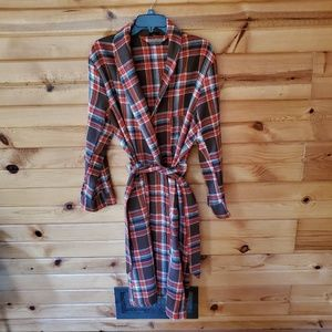 1970s Sears Plaid, Polyester Knit, Robe